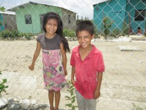 Kids with a guaba tree