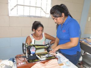 Using the sewing machine with a student